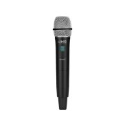 Hand-held microphone with integrated multifrequency transmitter, 823-832 MHz + 863-865 MHz