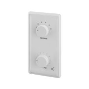 Wall-mounted PA volume control with programme selector and 24 V emergency priority relay, 12 W