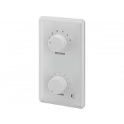 Wall-mounted PA volume control with programme selector and 24 V emergency priority relay, 24 W