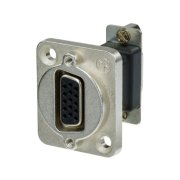 15-pole D-sub feed-through panel jack